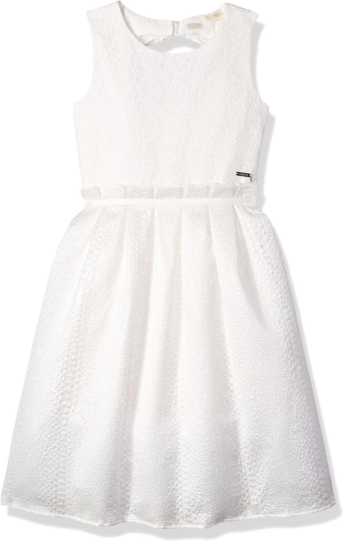 GUESS Girls' Big Sleeveless Shiny Ivory Party Dress