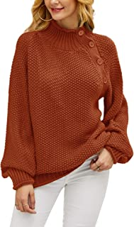 imesrun Womens Button Turtleneck Oversized Tunic Sweater Chunky Knit Pullover Jumpers