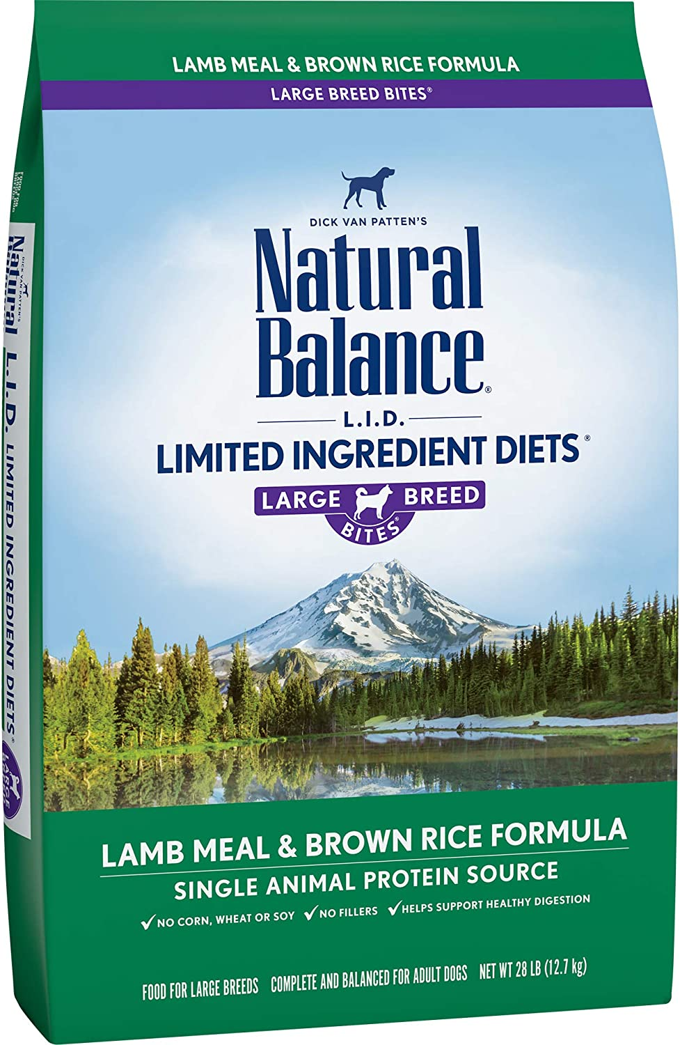 Natural Balance Large Breed L.I.D. Limited Ingredient Diets Lamb Meal & Brown Rice Formula Dry Dog Food, 28Pound