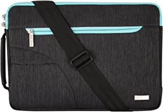 MOSISO Laptop Shoulder Bag Compatible 15 Inch MacBook Pro Touch Bar A1990 A1707 2019 2018 2017 2016, 14 Inch ThinkPad Chromebook, Polyester Briefcase Handbag Sleeve Case Cover, Black & Hot Blue