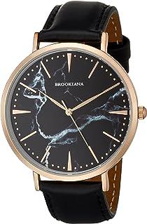 [BROOKIANA]ブルッキアーナ ラウンドスリム 薄型 40mm 2針 ローズゴールドブラック×ブラックレザーベルト 腕時計 BA3102-RSBLBK