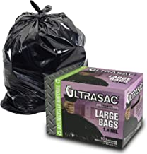 UltraSac 33 Gallon Trash Bags - (Huge 100 Pack/w Ties) - 39' x 33' Heavy Duty Large Professional Quality Black Garbage Bags - Extra Strong Plastic Trashbags for Home, Kitchen, Lawn, and Other