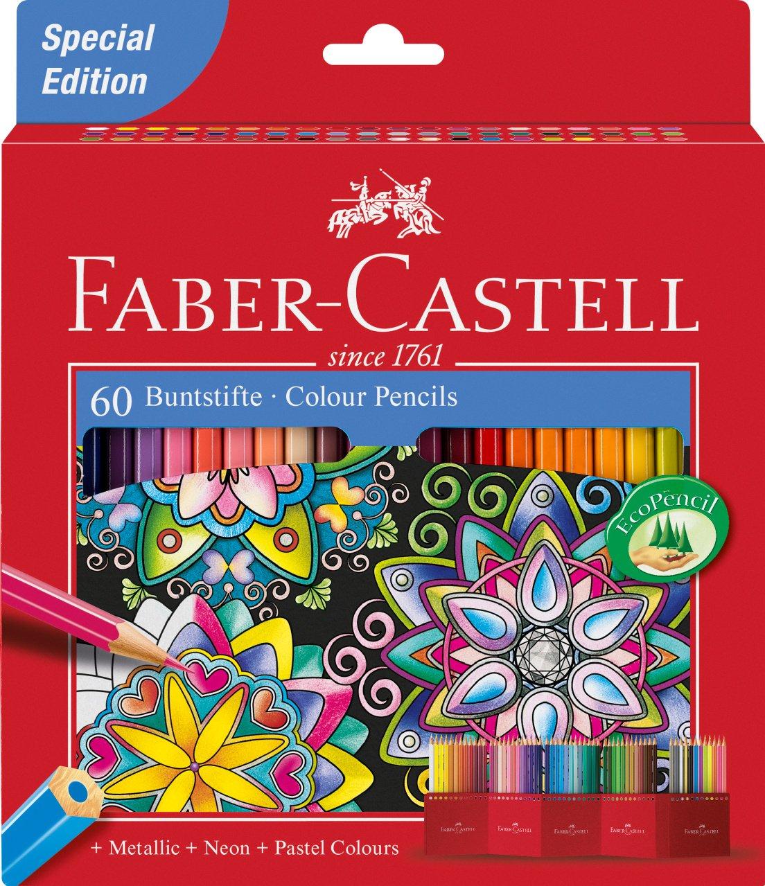 Faber-Castell 111260 - Estuche-soporte de cartón con 60 lápices de colores, multicolor: Amazon.es: Oficina y papelería