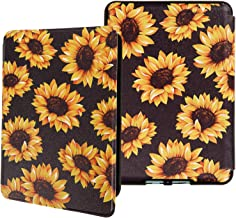 Sunflowers Water-Safe Case for Kindle Paperwhite 4 (10th Generation-2018), PU Leather Smart Cover with Auto Wake/Sleep Yellow Flowers Kindle Paperwhite 4 10th Generation 2018 Released, K10