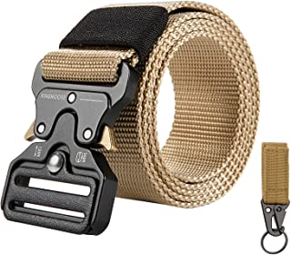 KingMoore Men`s Tactical Belt Heavy Duty Webbing Belt Adjustable Military Style Nylon Belts with Metal Buckle