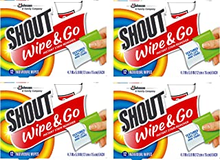 Shout Wipes - Portable Stain Treater Towelettes - (4- Pack,48 Wipes Count)