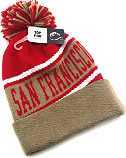 Legend of the Game San Francisco SF Top Pro New Beanie Cuffed Pom Red Gold Era Hat Knit Cap