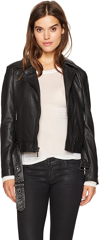 Kenneth Cole New York Womens Classic Moto Jacket Leather Jacket
