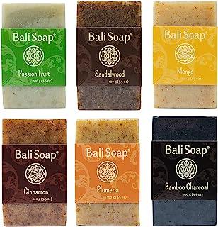 Bali Soap - Natural Soap Bar Gift Set, Face Soap or Body Soap, 6 pc Variety Soap Pack (Passion Fruit, Sandalwood, Mango, C...
