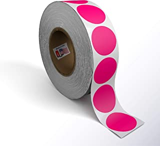 Kenco Color Coding Circle Dot Sticker Labels on a roll (Bright Pink, 2 INCH 500 Stickers)