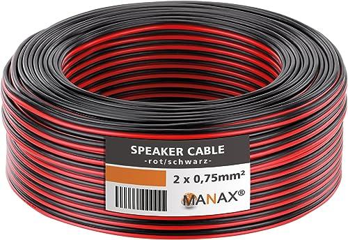MANAX SC2075 Câble d'enceinte 2x0.75 mm² CCA (Câble d'enceinte/Câble Audio), 2x0,75mm², 10,0m, Rouge/Noir