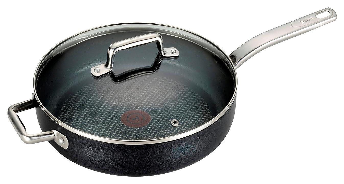 T-fal C51782 ProGrade Titanium Nonstick Thermo-Spot Dishwasher Safe PFOA Free with Induction Base Saute Pan Jumbo Cooker Cookware, 5-Quart, Black