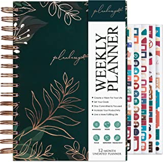 $22 » Sponsored Ad - PLANBERRY Weekly Planner – Elegant Life & Budget Planner to Hit Your Goals & Live Happier - Organizer & Productivity Journal – 6.9″ x 8.5″ Hardcover, Undated + Stickers (Green Pastures)