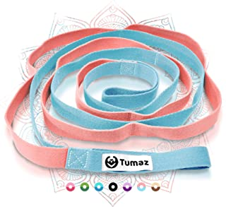 Tumaz Stretch Strap - 10 Loops & Non-Elastic Band - The Perfect Home Workout Stretching Strap for PT(Physical Therapy), Yo...