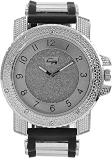 Iced Oversized Hip Hop Bullet Rubber Band Mens Watch, That Shows Your Lust for Life - Wht/Gld GJM0586