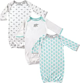 Luvable Friends Baby Girls' 33015_Elephant_0-6M Nightgown, 0-6 Months (pack of 3)