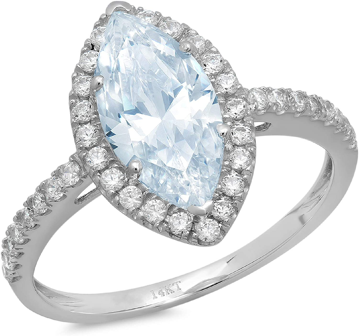 Clara Pucci 2.48 Brilliant Marquise Cut Our shop most popular Solitaire Max 70% OFF Accent St Halo