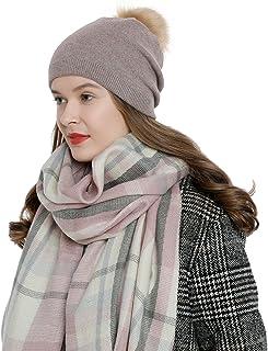 DonDon Mujer Gorro de invierno Gorro de punto caliente y suave con pompón borla desmontable para cambiar