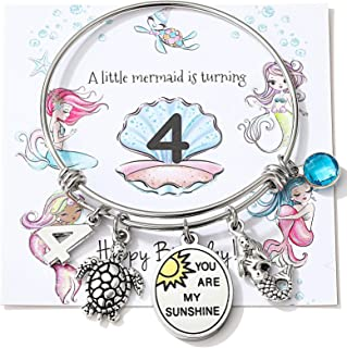 Miss Pink Birtdhay Jewelry Gifts for Her 6th 10th 13th 16th 21st 30th 40th 50th Adjustable Wire Banlge Charm Bracelets