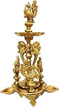 Purpledip Brass Oil Lamp Kuthu Vilakku: Antique Design Royal Deepam Diya with Parrots & Peacocks (12033)
