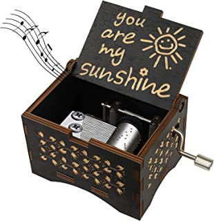 Sponsored Ad - RUYE You are My Sunshine Music Box, Hand Crank Musical Box Vintage Wood Carved Engraved Musical Box-Gifts f...