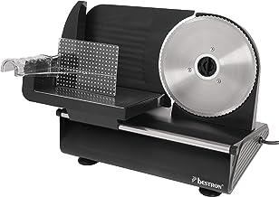 Bestron Trancheuse électrique, Épaisseur de coupe 0-15 mm, 2 vitesses, 150 W, Noir