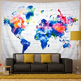 Generleo World Map Tapestry Wall Hanging Vintage Watercolor Colorful Tapestry Retro Hippie Tapestry for Bedroom Home Decor