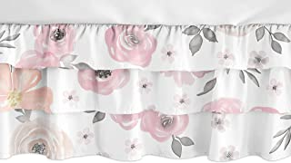 Sweet Jojo Designs Blush Pink, Grey and White Shabby Chic Girl Ruffled Tiered Baby Crib Bed Skirt Dust Ruffle for Watercolor Floral Collection - Rose Flower