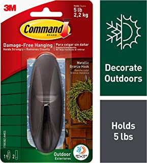Command Outdoor Hook, Decorate Damage-Free, Water-Resistant Adhesive, Large (17083BZ-AWES)