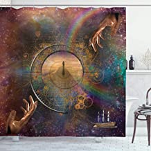 Ambesonne Magic Shower Curtain, Double Exposure Outer Space Mixed with Earth Symbolic Eternity Details Print, Cloth Fabric Bathroom Decor Set with Hooks, 75 Long, Purple Tan