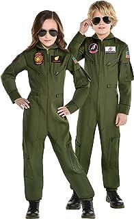 Party City Top Gun: Maverick Flight Costume for Kids, Halloween, Olive Green, Zipper Closure