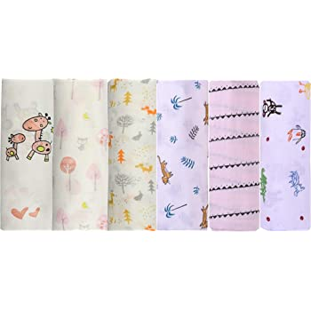 Moms Home Baby Organic Muslin Square Cloth/Wash Towel/Burp Cloth – Gentle to Baby Delicate Skin, 70x70 cm, Pack of 6 (0-3 Months)