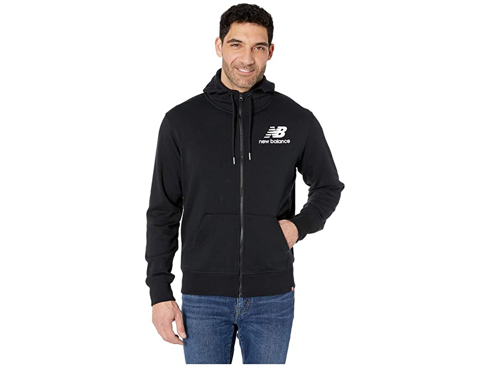 New Balance Essentials Stacked Logo Full Zip Hoodie (Black) Men