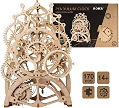 WOWOOD Wooden 3D Puzzle Gear Pendulum Clock Assembly Craft Toy Mechanical Model Kit for Adult to Build