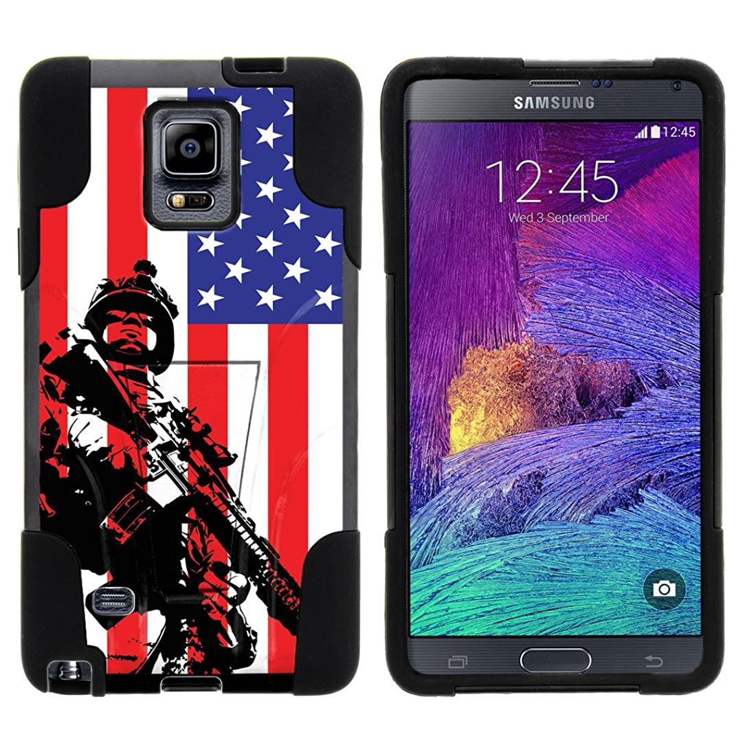 TurtleArmor   Samsung Galaxy Note 4 Case   N910 [Gel Max] Impact Proof Cover Hard Kickstand Hybrid Fitted Shock Silicone Shell Military War Army Camo Design - American Soldier