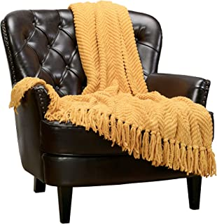 Chanasya Textured Knitted Super Soft Throw Blanket with Tassels Warm Cozy Plush Lightweight Fluffy Woven Blanket for Bed Sofa Couch Cover Living Bed Room Acrylic Yellow Throw Blanket (50x65)- Golden