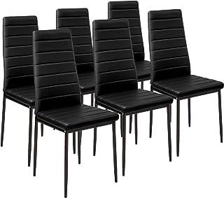 TecTake Lot de Chaise de Salle à Manger 41x45x98,5cm - diverses Couleurs et modèles au Choix - (6X Noir | No. 401848)