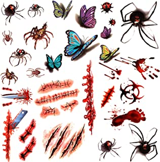 18 Sheets Halloween Temporary Tattoo Sticker, Include Fake Bloody Wound Stitch Scar, Spider, Butterfly Tattoos for Halloween Party