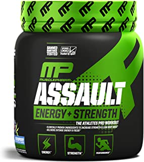 MusclePharm Assault Sport Pre-Workout Powder with High-Dose Energy, Focus, Strength, and Endurance with Creatine, Taurine, and Caffeine, Blue Raspberry, Energy Drink Powder, 30 Servings