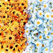 JNCH 200pcs Flores Margaritas Artificiales de Tela para Manualidades Decoración de Boda Fiesta Hogar Jarrones (100 pcs Azules y 100 pcs Amarillas)
