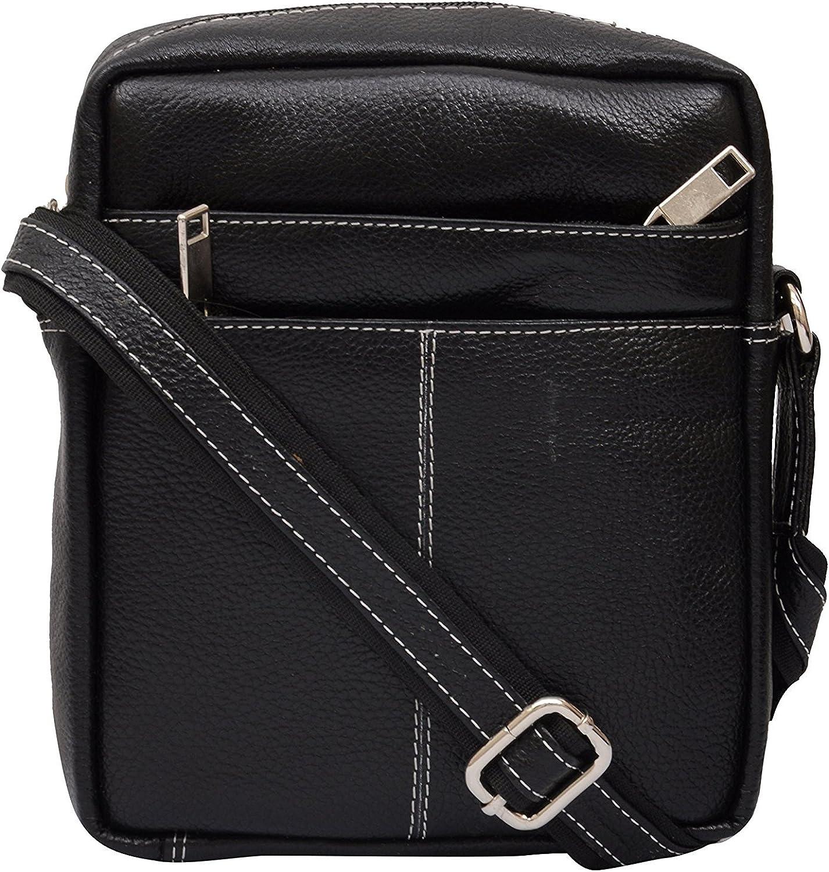 HiLEDER Unisex Leather Black Crossbody Sling Bag