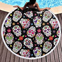 Bethwerdr Colorful Vintage Sugar Skull Round Beach Towel for Women&Girl,Hippie Towel Extra Large Sand Proof Blanket Yoga Mat with Tassels 59