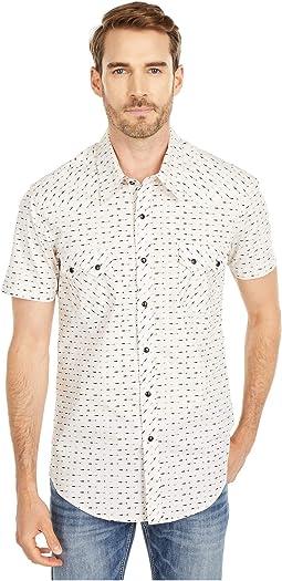 Short Sleeve Arrow Print Snap Shirt B1S5105