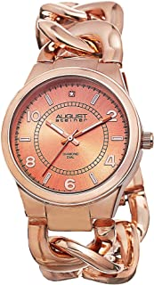 August Steiner Women's AS8112RG Swiss Quartz Diamond Rose-Tone Twist Chain Bracelet Watch
