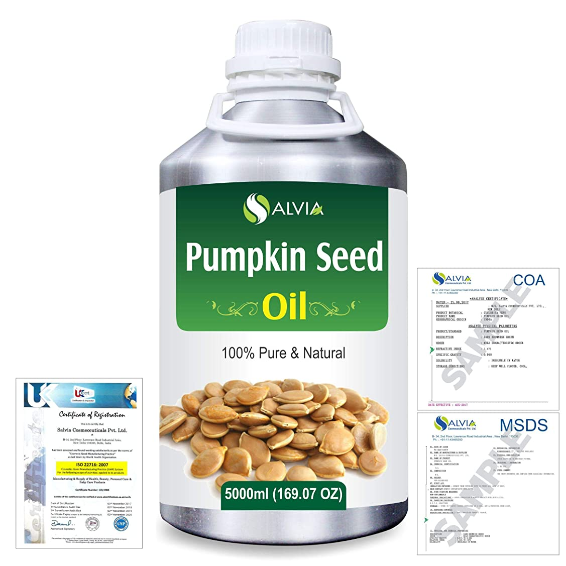 香ばしい懸念シールPumpkin Seed Oil (Cucurbita Pepo) Natural Pure Undiluted Uncut Carrier Oil 5000ml/169 fl.oz.