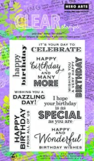 Hero Arts CL611 Clear Stamps, Many Birthday Messages, 4
