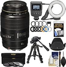 Canon EF 100mm f/2.8 Macro USM Lens with Ringlight + Tripod + Hood + 3 Filters Kit for EOS 6D, 70D, 5D Mark II III, Rebel T3, T3i, T4i, T5, T5i, SL1 DSLR Cameras