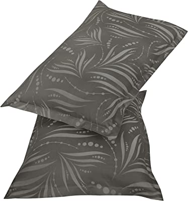 Amazon Brand - Solimo Fizzy Fronds 500 TC Cotton Blend Double Bedsheet with 2 Pillow Covers, Ash Grey