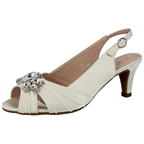 dea357632dcc Ladies Missouri Comfort Plus Satin Gem Stone Kitten Heel Sling Back Wider  Fit Wedding Sandals Shoes