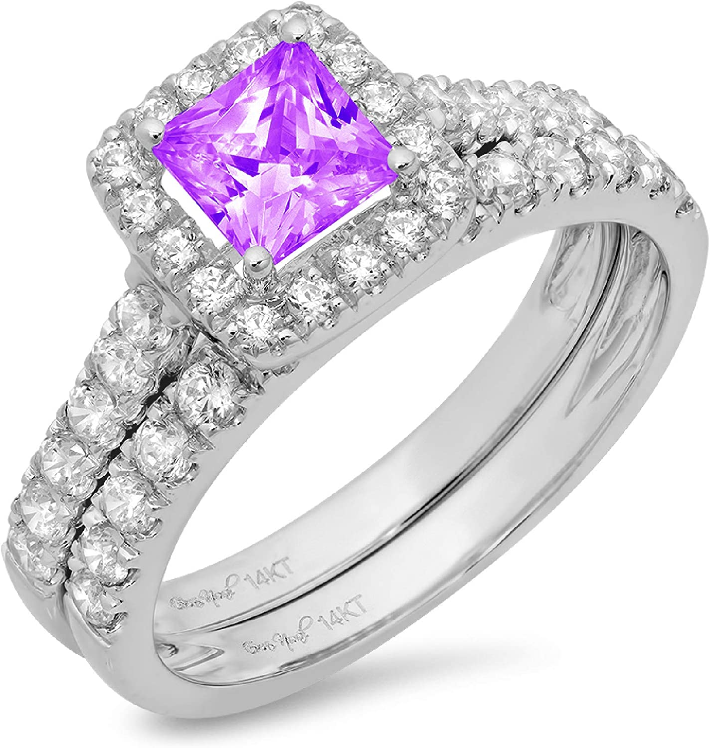 1.54ct Princess Cut Halo Pave Solitaire with Accent VVS1 Ideal Natural Purple Amethyst Engagement Promise Designer Anniversary Wedding Bridal Ring band set 14k White Gold
